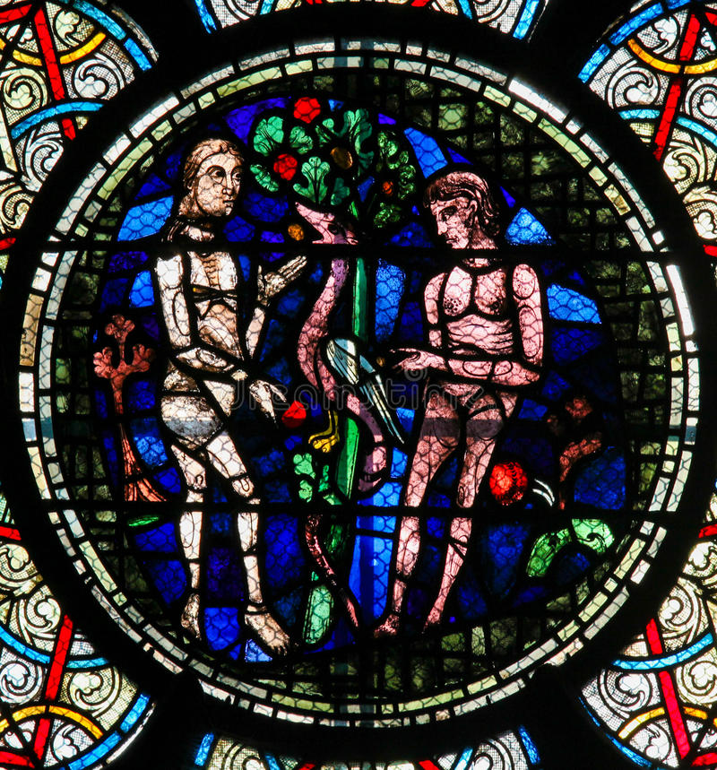 Stained Glass - Adam and Eve stock image