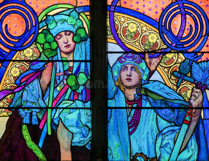 Stained Glass by Alphonse Mucha in Prague Cathedral. Stained Glass window in St. Vitus Cathedral, Prague, designed by Alphonse Mucha stock photos