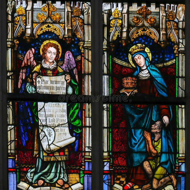 Stained Glass - Angel, Saint Elizabeth of Hungary. Stained Glass window in the Church of Saint Andrew in Antwerp, Belgium, depicting an Angel and Saint Elizabeth vector illustration