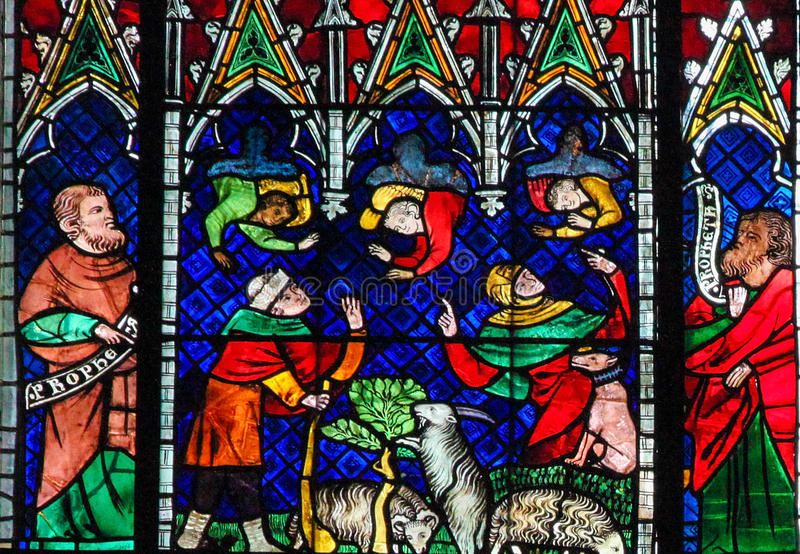Stained Glass - Angels and Goats stock image