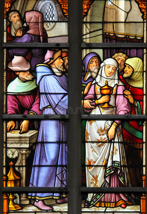 Stained Glass - Antisemitic stained glass in Brussels Cathedral royalty free stock photos
