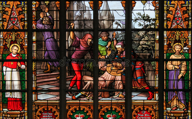 Stained Glass - Antisemitic stained glass in Brussels Cathedral royalty free stock photo