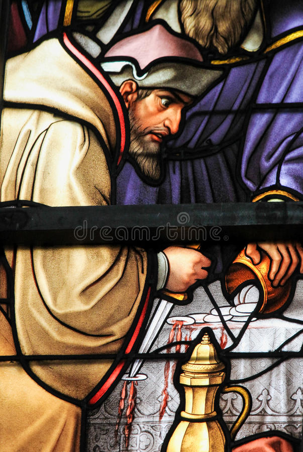 Stained Glass - Antisemitic stained glass in Brussels Cathedral stock photography