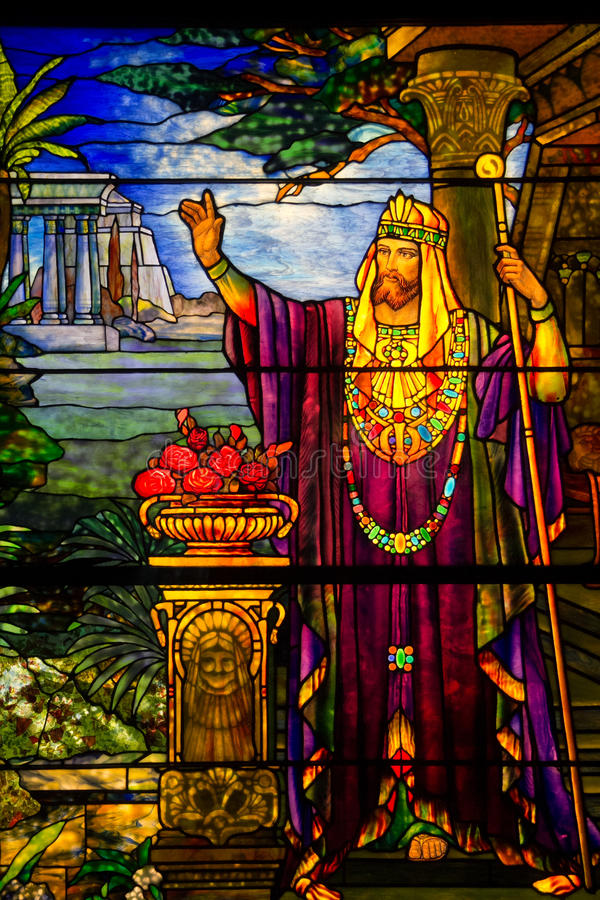 Stained glass. Apostle on stained glass in Chicago royalty free stock photo