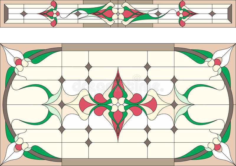 Stained glass in Art Deco style / Abstract floral, Tiffany technique. Vector. royalty free illustration