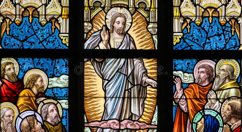 Stained Glass - Ascension of Jesus royalty free stock photography