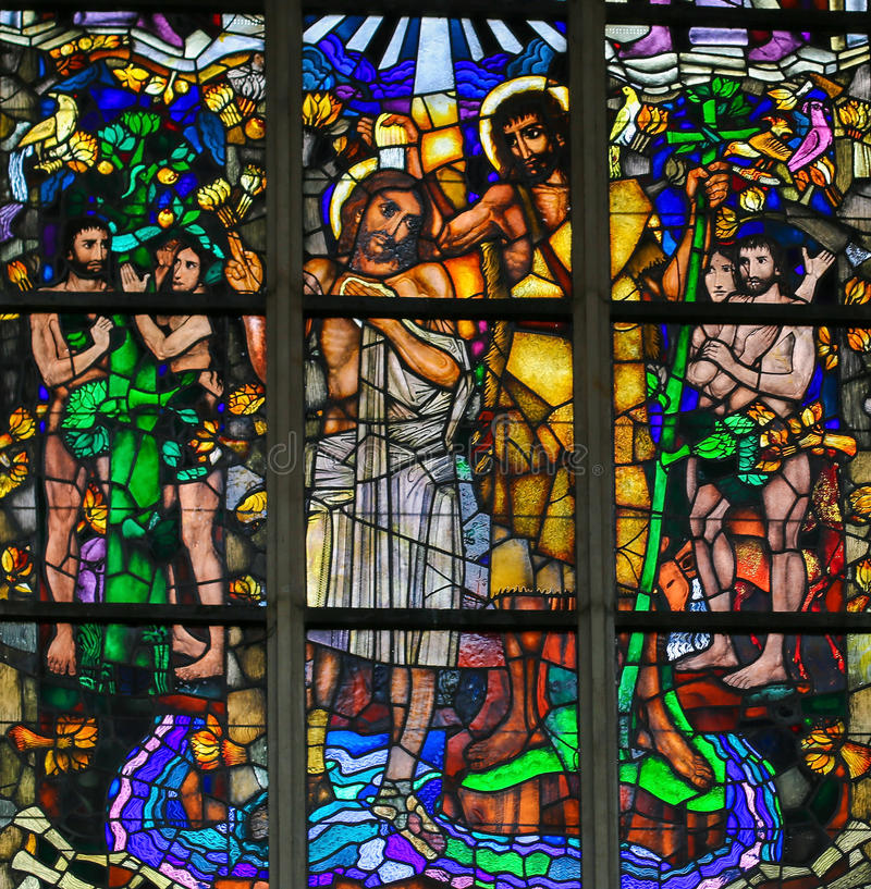 Stained Glass - Baptism of Jesus by Saint John the Baptist. Stained Glass window in the Church of Saint Andrew in Antwerp, Belgium, depicting the Baptism of vector illustration