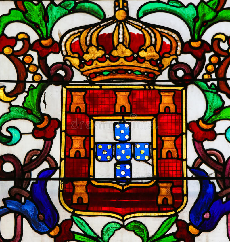 Stained Glass in Batalha Monastery - Coat of Arms of King John I. Stained Glass depicting the personal Coat of Arms of King John I of Portugal (1357-1433) in the royalty free stock photo