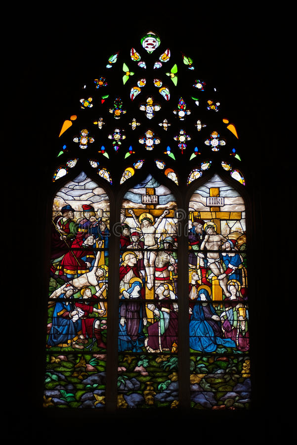 Stained glass at Batalha monastery royalty free stock photo