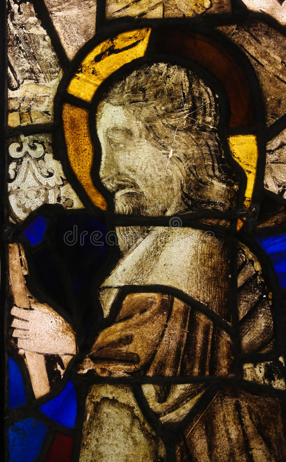 Stained Glass in Batalha Monastery - Old Testament Prophet. Stained Glass (15th Century) depicting an Old Testament Prophet in the Monastery of Batalha in royalty free stock image