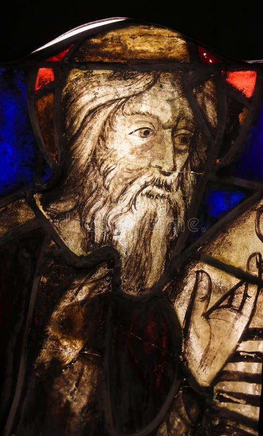 Stained Glass in Batalha Monastery - Old Testament Prophet. Stained Glass (15th Century) depicting an Old Testament Prophet in the Monastery of Batalha in royalty free stock images