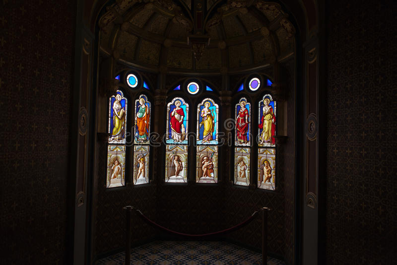 A stained glass from Blois Chateau. Valley of Loire, France royalty free stock images