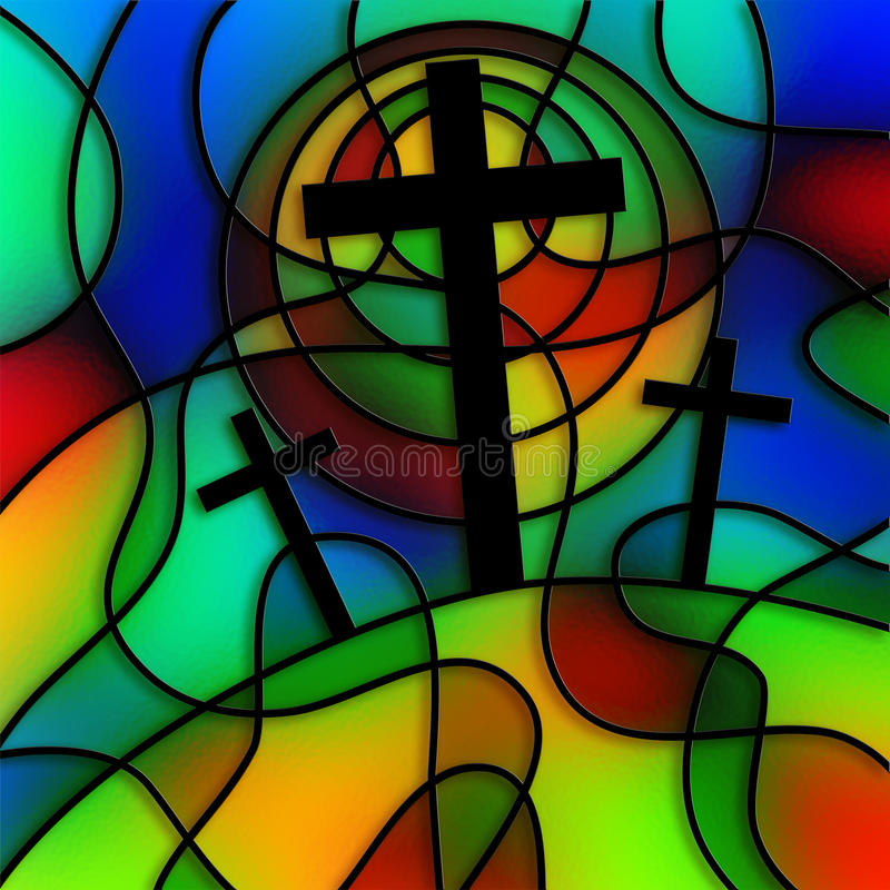 Stained Glass Calvary. I have created this calvary cross image digitally and tried to make it look like stained glass stock illustration
