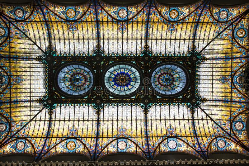Stained glass ceiling in the lobby of the Gran Hotel of the city of Mexico in Mexico City, Mexico. North America stock photos