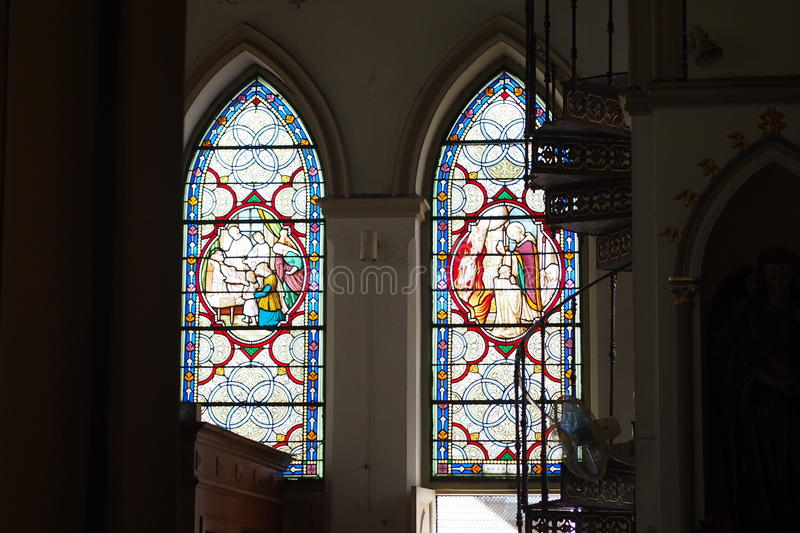 Stained glass in centuries-old Christian churches. In Bangkok, Thailand royalty free stock photo
