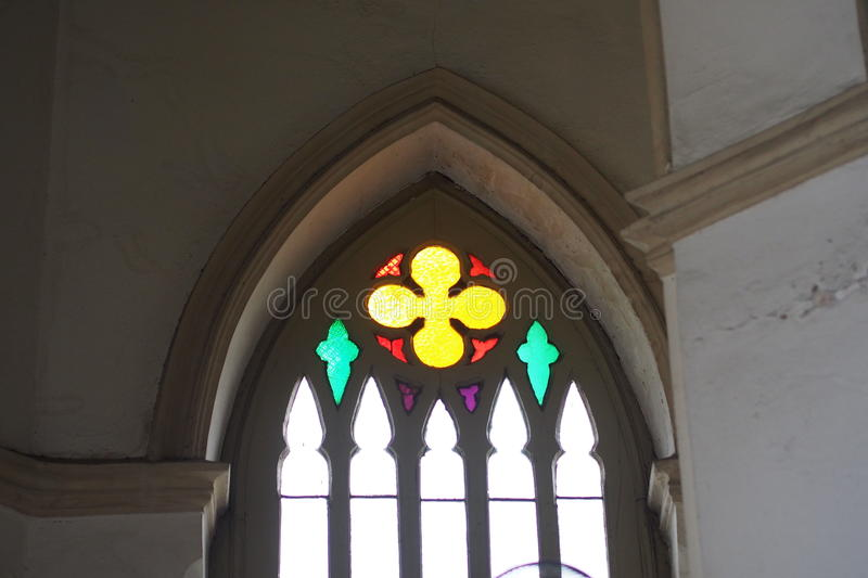 Stained glass in centuries-old Christian churches. In Bangkok, Thailand stock image