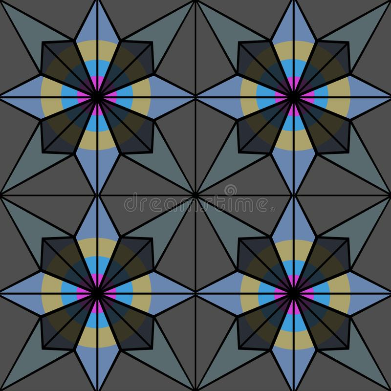 Stained glass or ceramic tiles with seamless pattern. Illustration bitmap. 2d stock illustration