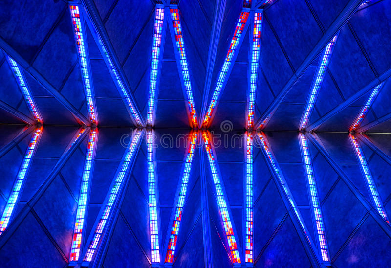 Stained Glass Chapel Ceiling at the United States Air Force Academy Chapel at Colorado Springs stock photo