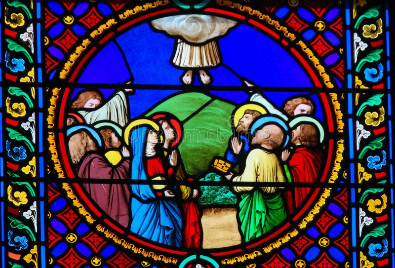 Stained Glass in Notre-Dame-des-flots, Le Havre stock images