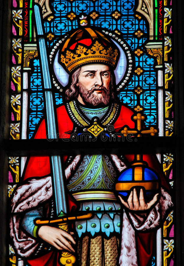 Stained Glass - Charlemagne stock photography