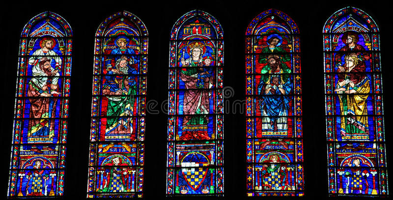 Stained Glass at Chartres Cathedral. Stained Glass with Mother Mary, the Four Evangelists and Four Prophets in the Cathedral of Our Lady of Chartres, France stock photo