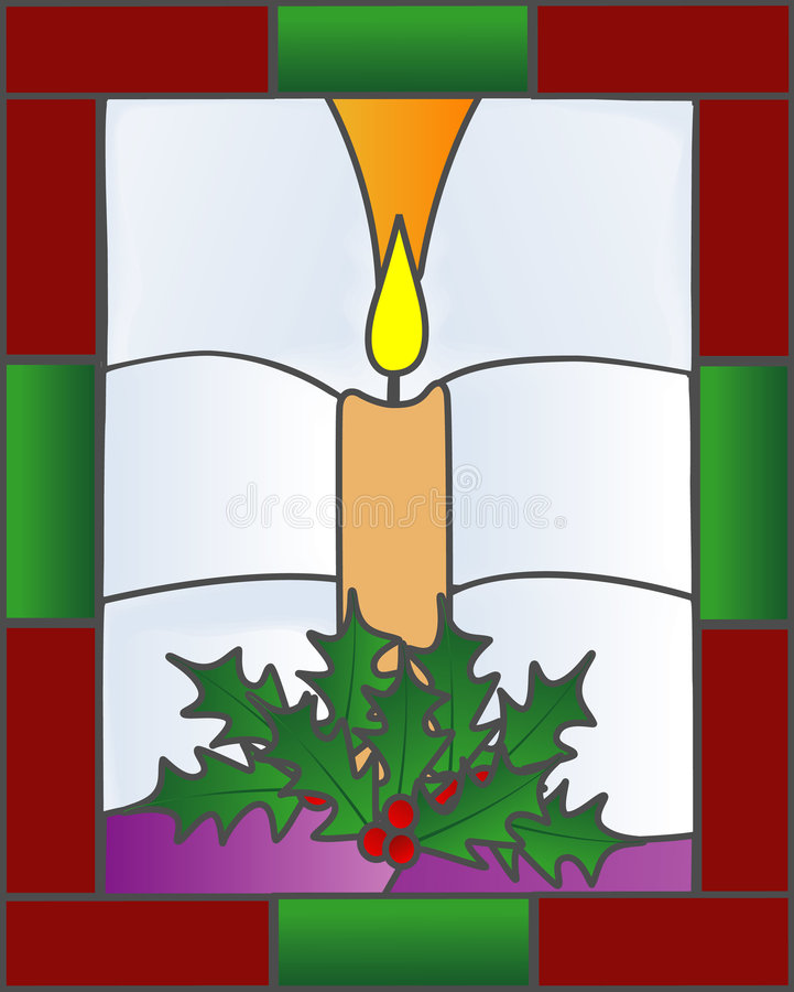 Stained Glass Christmas Candle Stock Photos