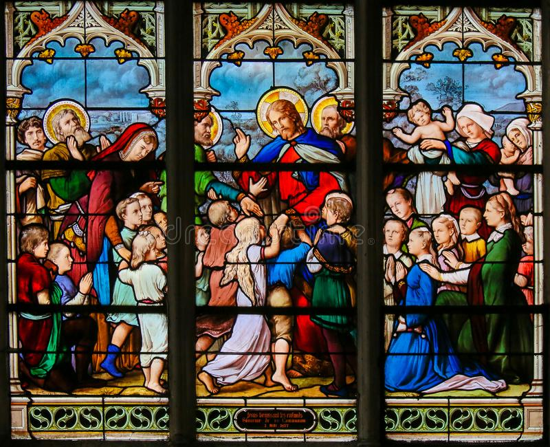 Let the Children come to Me - Stained Glass royalty free stock image