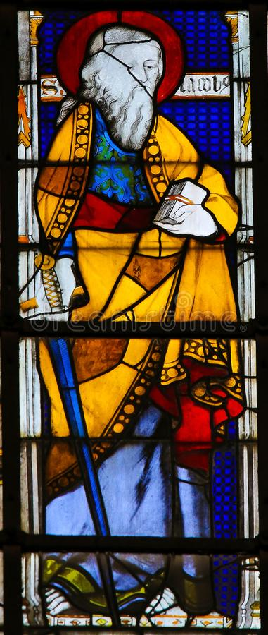Saint Paul carrying a Sword - Stained Glass. Stained Glass in the Church of Saint Severin, Latin Quarter, Paris, France, depicting Saint Paul carrying a Sword stock images