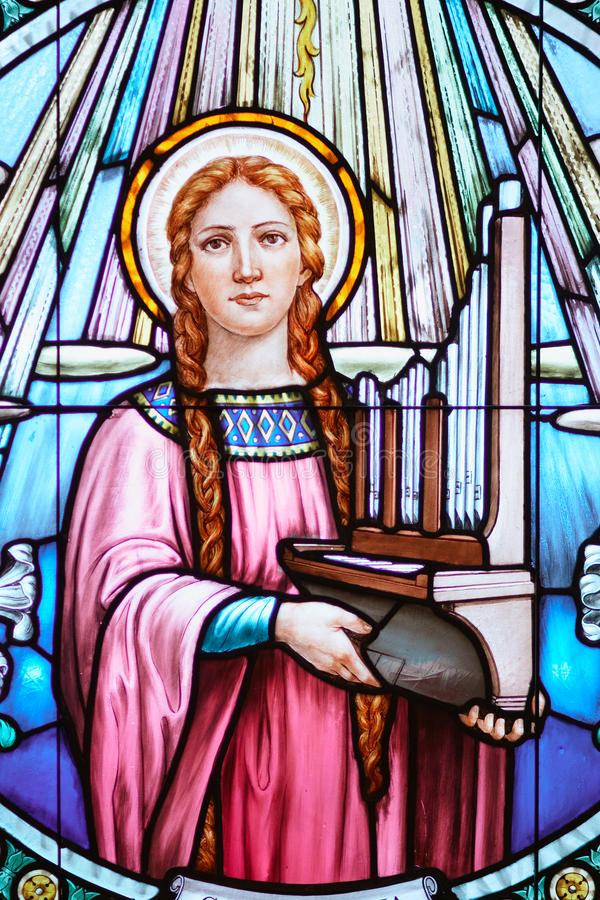 Stained glass church window. Church stained glass window of st mary stock photos