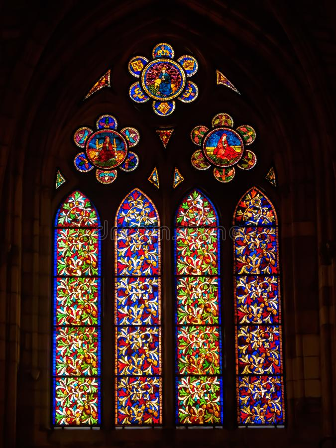 Stained glass church window - Leon royalty free stock images