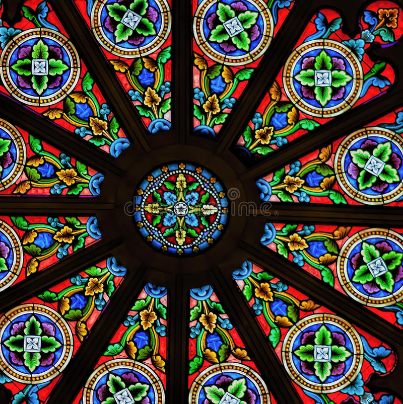 Stained Glass Church Window in Santa Fe, New Mexico. Colorful stained glass window in the Cathedral Basilica of St. Francis of Assisi, a stately 1800s-era royalty free stock photos