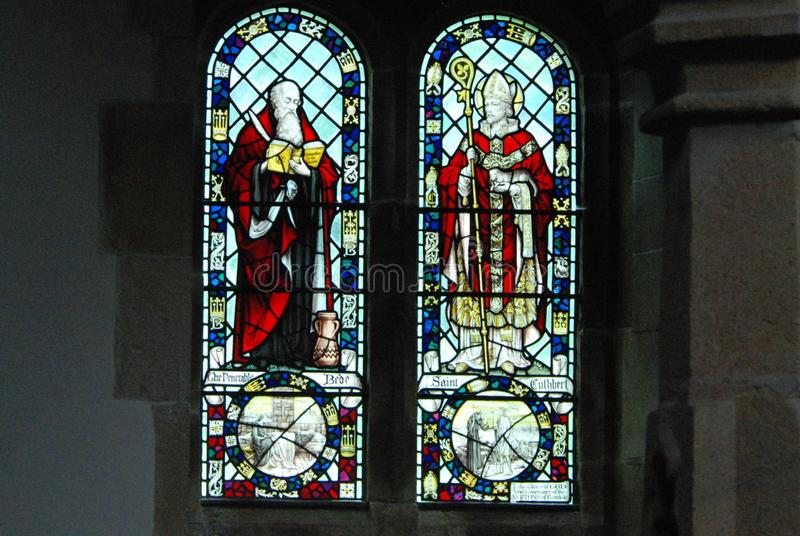Religious times stained glass features. Stained glass from a church in Yorkshire dales royalty free stock image