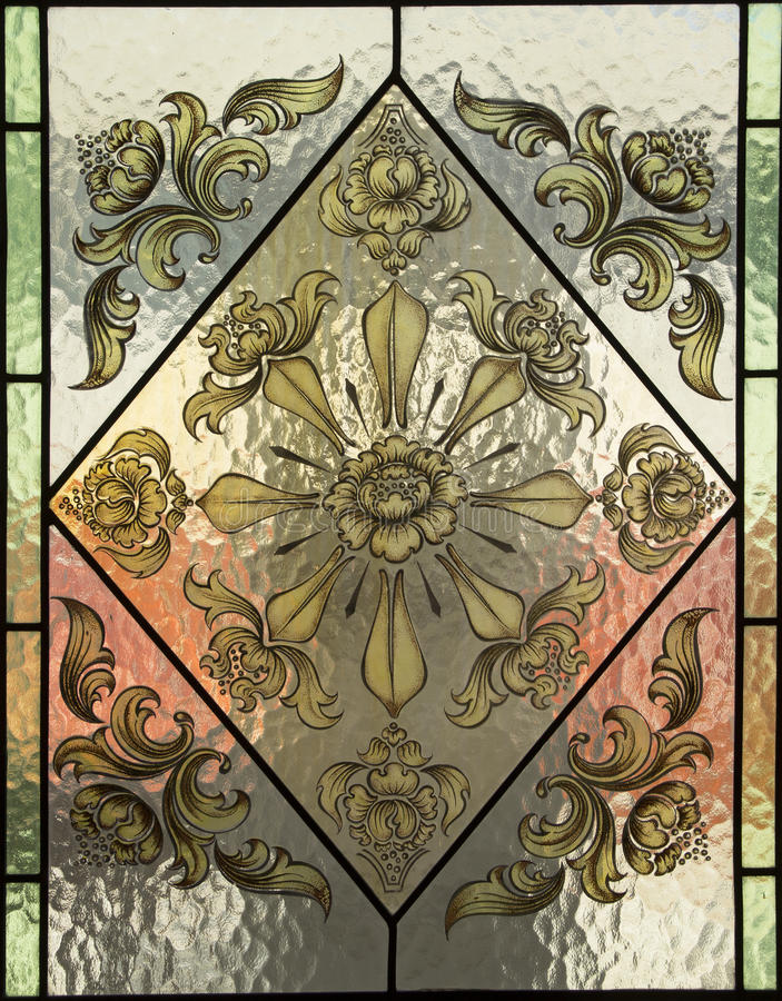 Stained Glass. Close up flower Stained Glass stock photo