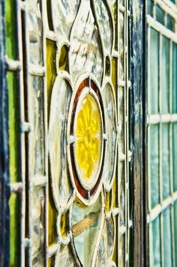 Stained glass. Close up of stained glass window with shallow depth of field royalty free stock image