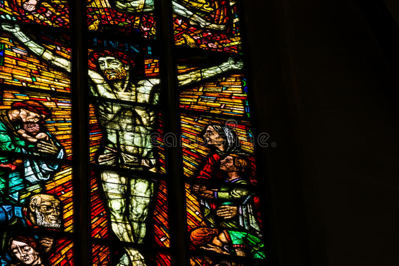 Stained Glass Closeup Religious Church Indoors Black Contrast Te royalty free stock image