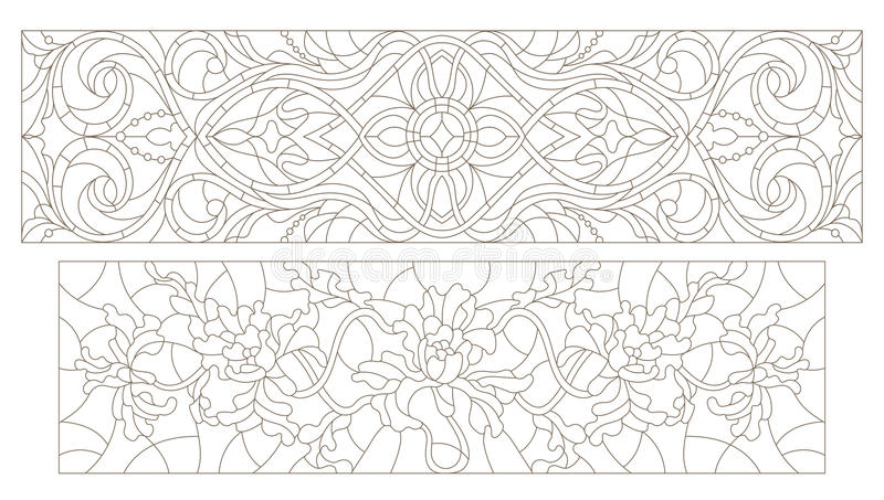 Stained glass contour kit with abstract swirls and flowers , horizontal orientation stock illustration