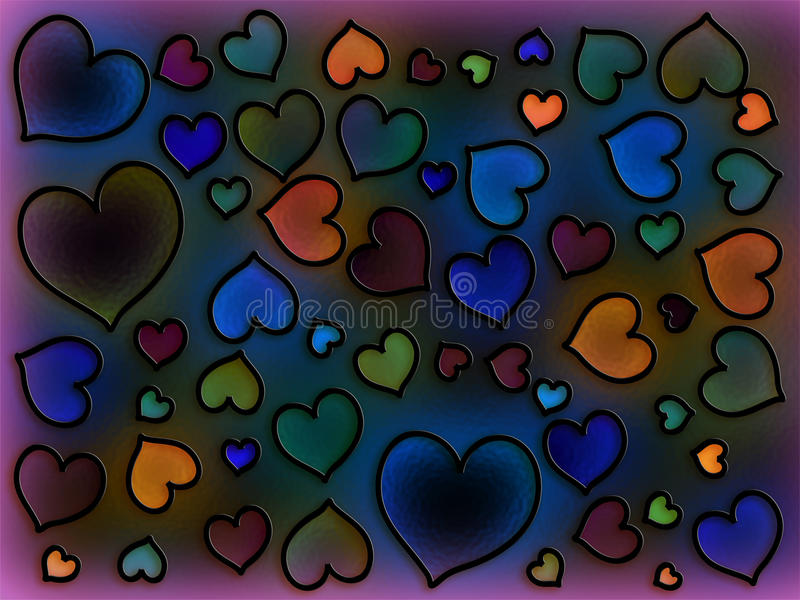 Stained Glass Cool Hearts vector illustration