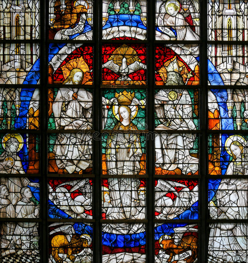 Stained Glass - Coronation of Mary. Stained Glass window (1450) in St Gummarus Church in Lier, Belgium, depicting the Coronation of Mary royalty free stock images