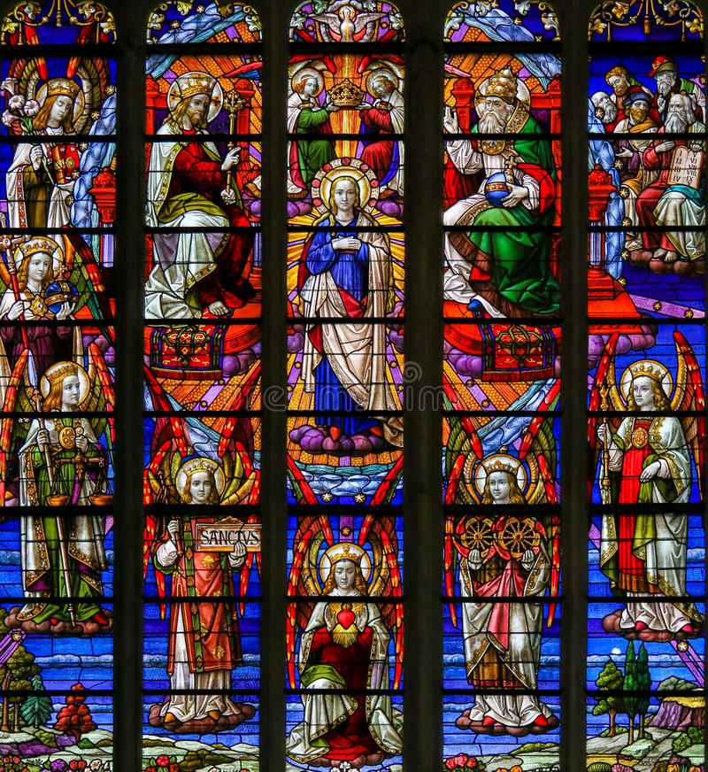Stained Glass - Coronation of Mother Mary by the Holy Trinity royalty free stock images