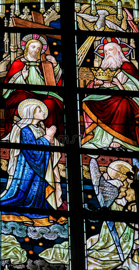 Stained Glass - Coronation of Mother Mary by the Holy Trinity royalty free stock photos