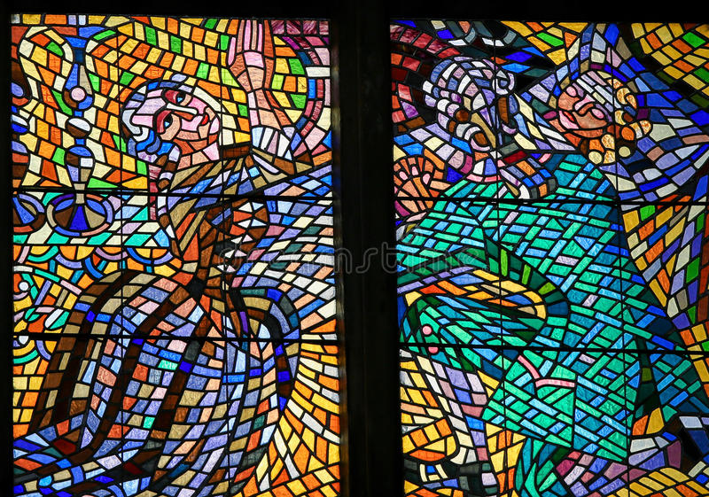 Stained Glass - Couple praying for their daughter royalty free stock photos