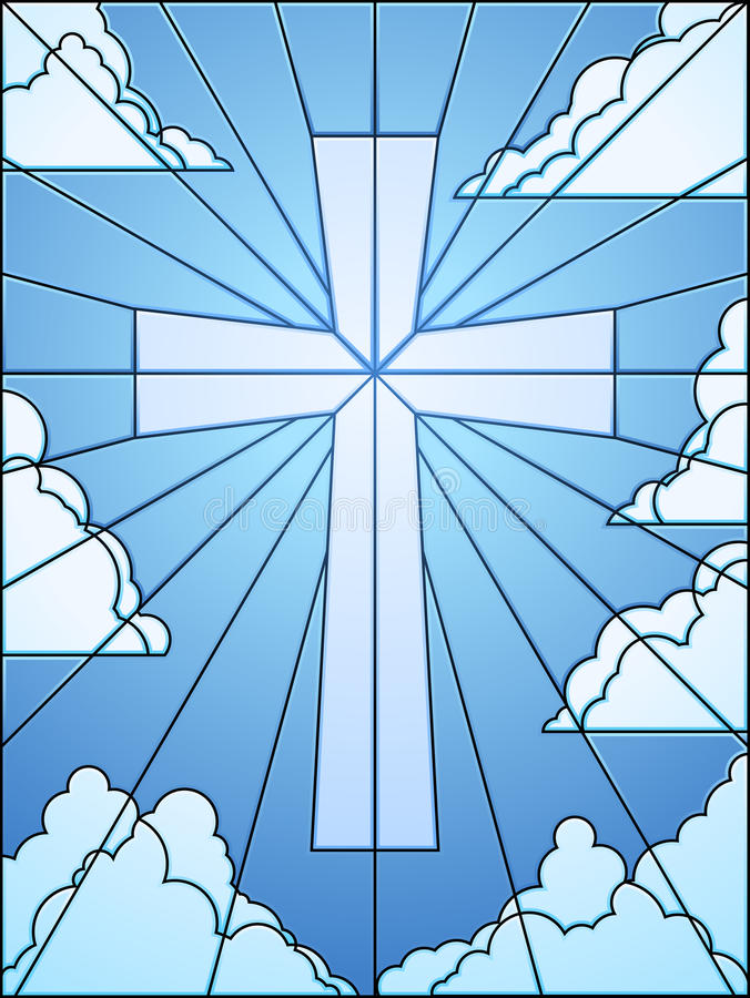 Stained glass cross in sky royalty free illustration