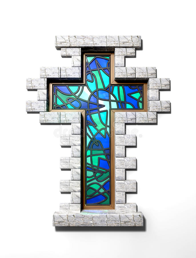 Download Stained Glass Crucifix Window Isolated Stock Illustration - Image: 29333387