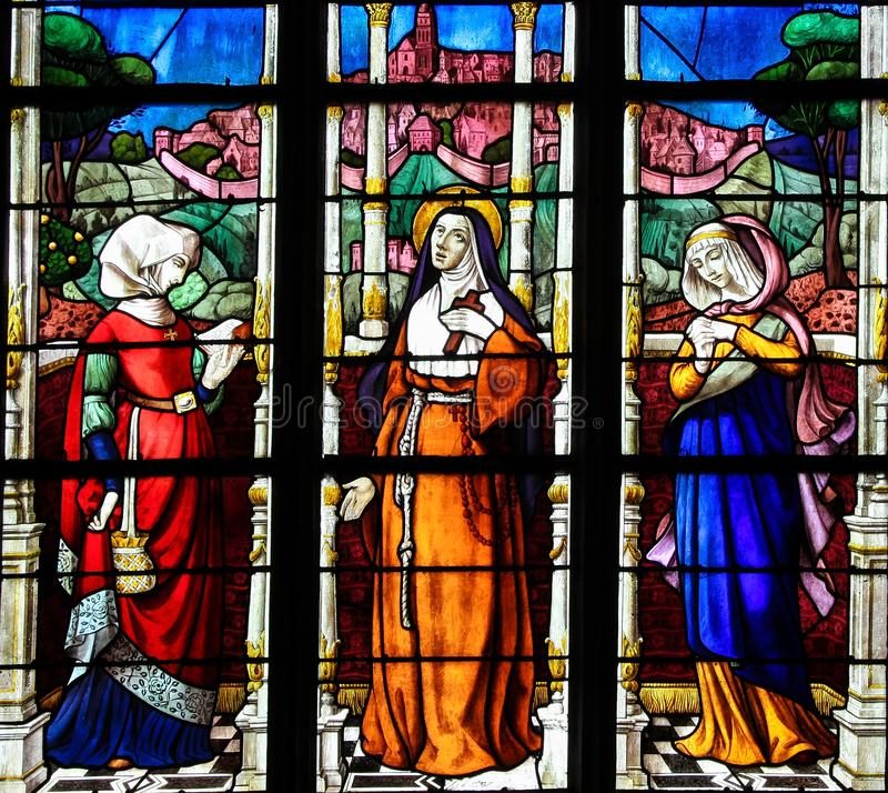Stained Glass of the Countesses of Perche in Notre Dame church o stock image