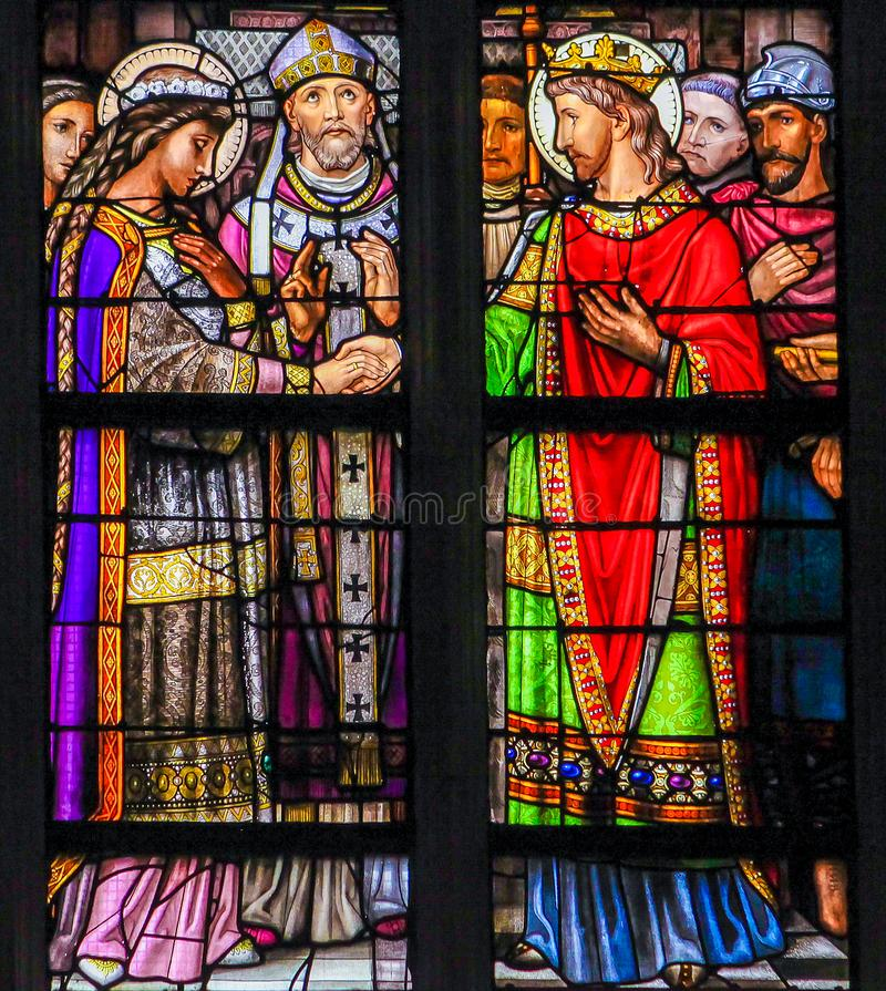 Stained Glass of the Sacrament of Marriage in Den Bosch Cathedra royalty free stock images