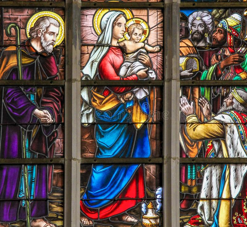 Stained Glass - Magi or the Three Kings from the East royalty free stock image