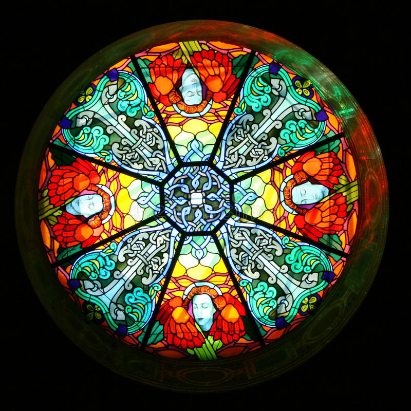 Stained glass dome. In church royalty free stock photo