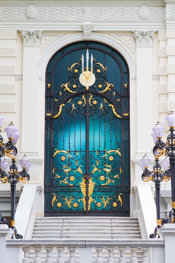 Stained glass doors. The beautiful Stained glass doors stock photo