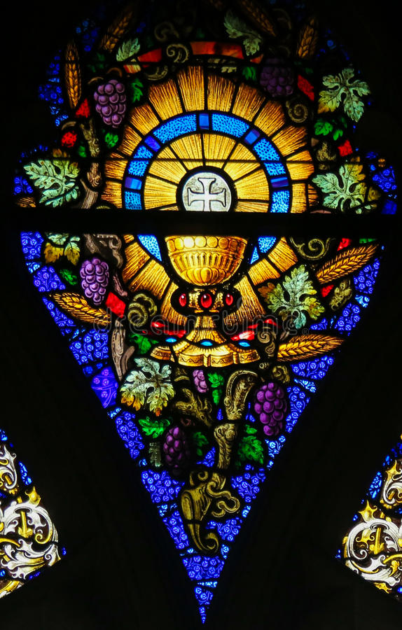 Stained Glass - Eucharist and Holy Grail royalty free stock images