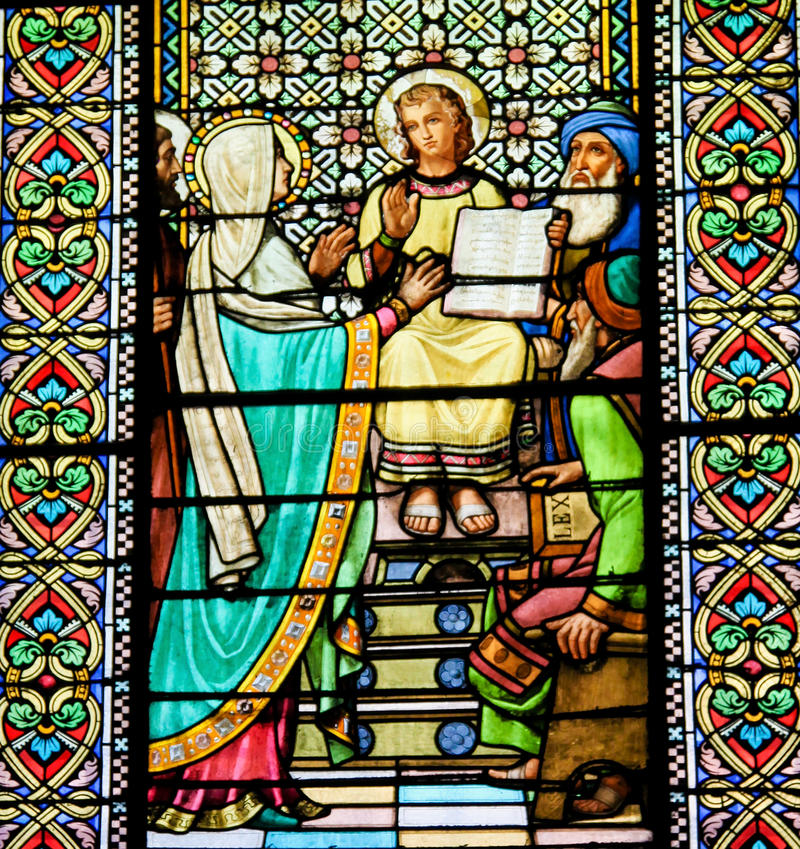 Stained Glass of The Finding of Jesus in the Temple of Jerusalem stock images